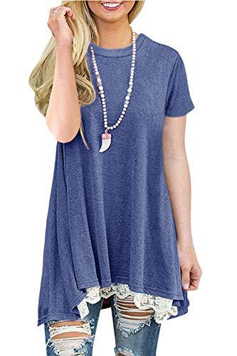 NICIAS Damen Sommer Kurzarm T-Shirt Pullover Rundhals Spitze Tunika Top Lässige Oberteil Bluse Shirt Dunkelblau L