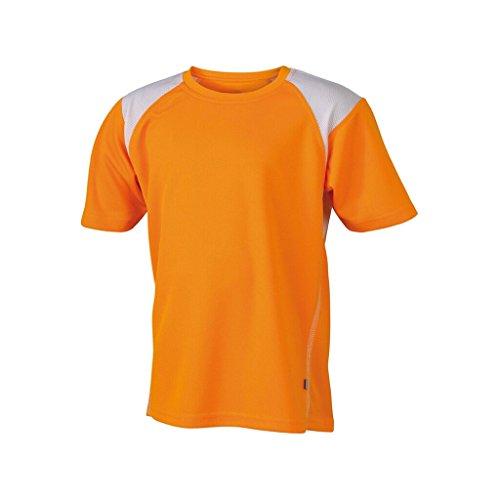 JAMES & NICHOLSON Atmungsaktives Laufshirt für Kinder Orange/White