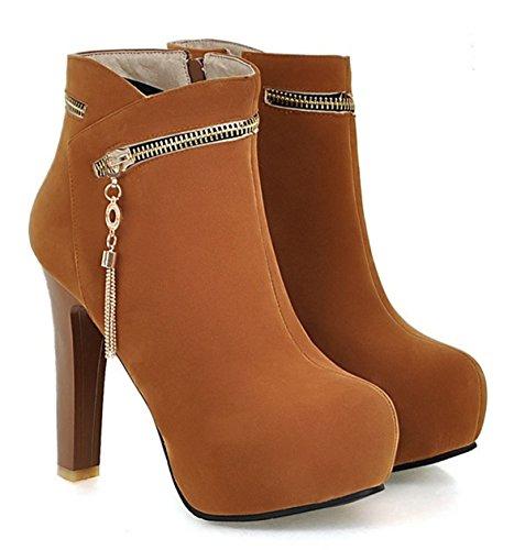 YE Damen High Heels Plateau Stiefeletten Wildleder mit 12cm Absatz  Reißverschluss Blockabsatz Heels Ankle Boots Schuhe ...