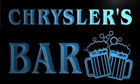 w020286-b CHRYSLER'S Nom Accueil Bar Pub Beer Mugs Cheers Neon Sign Biere Enseigne Lumineuse