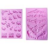 MagiDeal 2 Moldes en Forma de Flor para Joyería Chocolate Tarta Pastel Helados Fondant DIY Bricolaje de Silicona de Rosa Atractivo