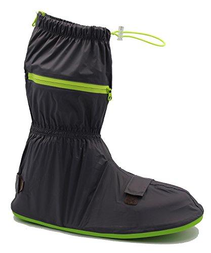knixmax Herren Wasserdicht Schuhe zum Gummi Sohle Rutschfest Regen Schnee Stiefel wiederverwendbar waschbar über schuhe für Outdoor, Camping, Angeln, Garten XLSchwarz