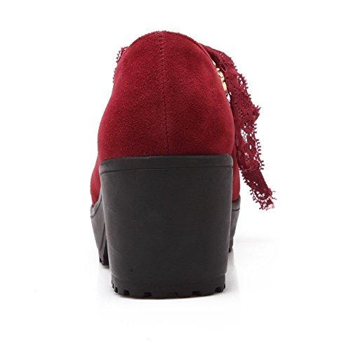 VogueZone009 Donna Pelle Di Mucca Puro Allacciare Punta Chiusa Punta Tonda Tacco Medio Ballerine Rosso