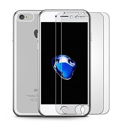 Ensembles iPhone 7 Vitre Film Protection Verre Trempé (2 Pièces) & Coque, OMOTON Protecteur Ecran Et Coque Argenté