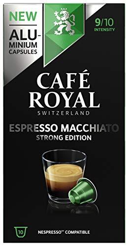 Café Royal Espresso Macchiato Strong Edition 50 Nespresso kompatible Kapseln (aus Aluminium, Intensität 9/10) (5 x 10 Kaffeekapseln)