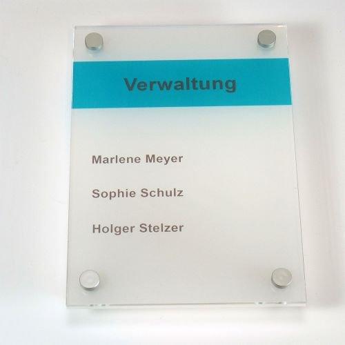 Acrylglas Büroschild satiniert 150 x 210 mm DIN A5 inkl. 4 Befestigungen, Wandschilder, Doppelglas, Türschilder
