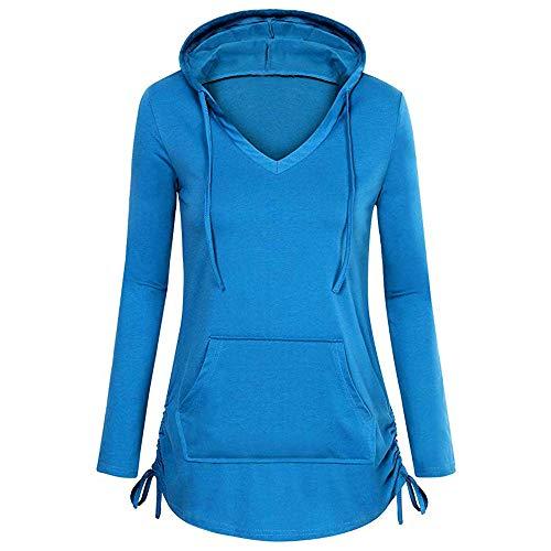 Hoodie Sweatshirt Dasongff Damen Frauen Kapuzenpullover mit Hohem Kragen Feste Sweatshirt Pullover Tops Slim Fit PulloverKleid