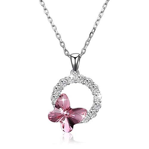 Unbekannt Halskette, 925 Sterling Silber Kristall Halskette Schmetterling Schlüsselbein Kette Mutter Freundin Tochter,Pink