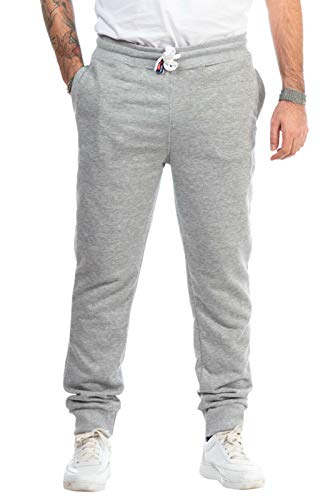 KENNY BROWN Herren Fitness-Hose lang, Jogginghose, elastische Sporthose Slim Sweat-Pants Trainingshose 518 (Grau, S) -