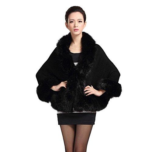 Tongshi Mujeres de la falda de piel de señora Faux abrigo corto poncho capa abrigo abrigo suéter (Negro)