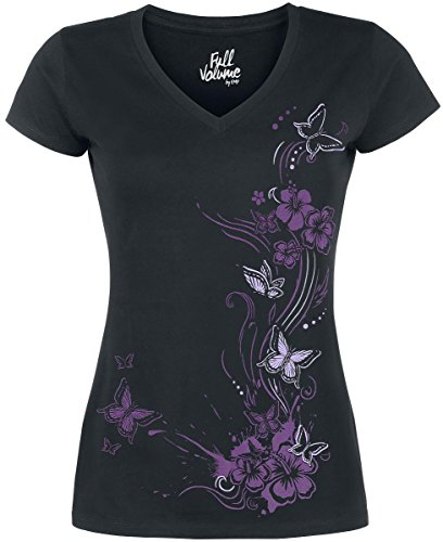 Full Volume by EMP Butterflies V-Neck Maglia donna nero XXL