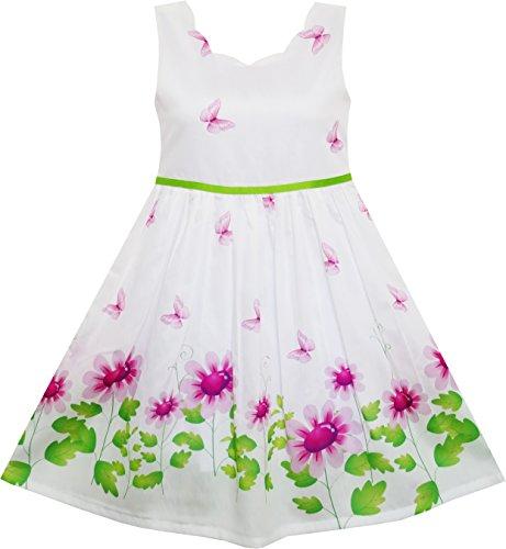 Mädchen Kleid Lila Sonnenblume Grün Blätter Schmetterling Gr.134