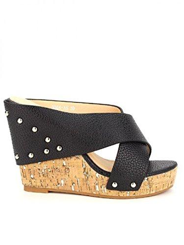 Cendriyon, Compensée Noire simili cuir MISS Chaussures Femme Noir
