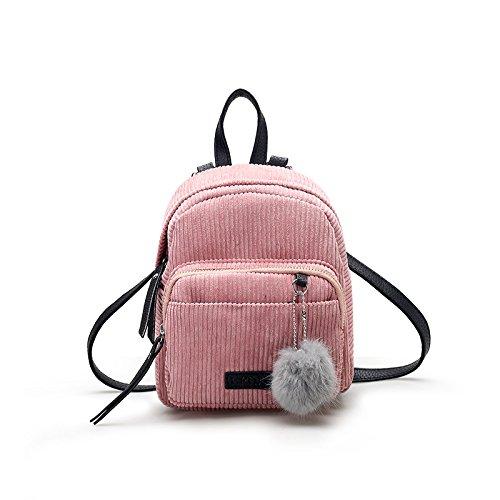 KPHY-Mini - Double Wieder Cordhose Weibliche Fellklumpen Solide Alles Mit Kleinen Rucksack Alte Einfach Solide Alle Spiel - Paket TaschePink