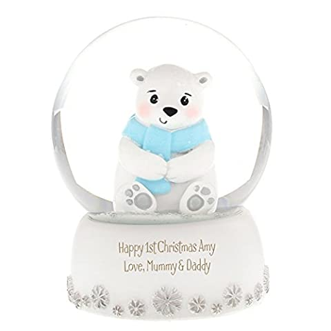 Polar Bear Snow Globe - Personalised