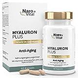 NaroVital Hyaluron Plus - Anti-Aging & Haut - 250 mg Hyaluronsäure, Niacin, Vitamin B2, Kupfer, Selen, OPC, L-Cystein & Vitamin E - Vegan - Hochdosiert - 60 Kapseln
