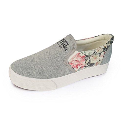Damen Einfache Slip On Dicke Sohle Plateau Aufzug Blumenpattern Lässige Turnschuhe Sneakers Grau