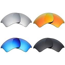 MRY 4Paar Polarisierte Ersatz Gläser für Oakley Half Jacket 2.0XL sunglasses-stealth schwarz/fire rot/ice blau/silber titan