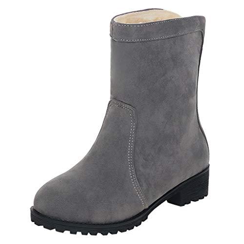 Damen Kurzstiefel Round Toe Schuhe Wildleder Square Flat Zipper Unifarben Schuhe