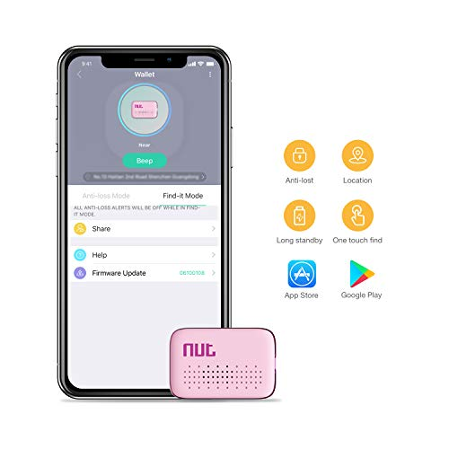 Famisafe Buscador de Mini Llaves, buscador de teléfonos Buscadores de Carteras Buscador de Seguimiento de Bluetooth Anti-perdido con Control de Aplicaciones para iOS y Android (Rosa)
