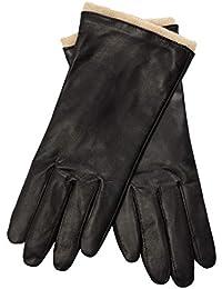 619511fd1d76c0 EEM Damen Leder Handschuhe MALIKA aus Lammnappaleder, sichtbare Stulpe aus  Wolle, warm, modisch
