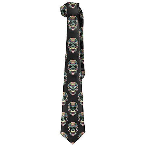 Men Color Sugar Skull Halloween Polyester Silk Faldable Gentleman Tie Necktie Gift Box