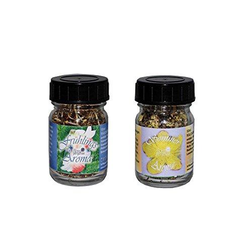 Set Räuchermischung Spring and Summer Aroma von Flora Incense, in 50 ml Glasfläschen - Lavendel, Süßem Basilikum