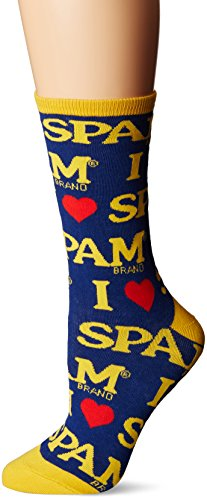 chaussettesmith-spam-blue-womens-graphic-crew-chaussettes