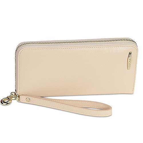 COCASES COCASES Damen Portemonnaie, Elegant Kunstleder Langbörse mit Reißverschluss und Schlaufe Creme