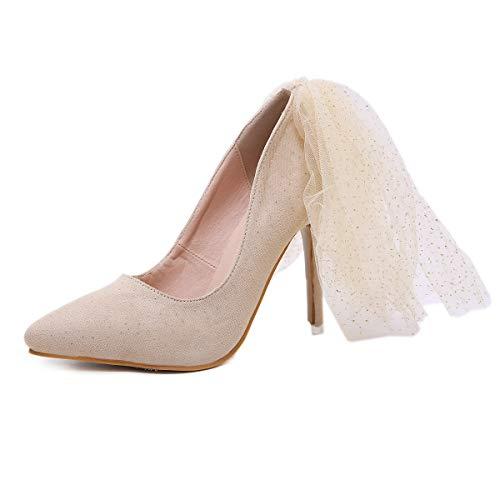 MKHDD Womens Rhinestone zeigte hochhackige Pumpe Hochzeit süß Elegante große Mesh glänzende Sterne einzelne Schuhe,Beige,39