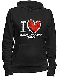 Idakoos I love United Methodist Church chalk style - Religionen - Damen Hoodie