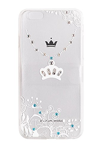 """Hülle ART VENNUS Muster Diamonds Für Apple iPhone 7 4,7"""" Apple iPhone 7 Hülle Etui Flip Cover Silikon Tasche Back Case Glänzed (Halskette mit Krone schwarz) Halskette mit Korone weiß"""