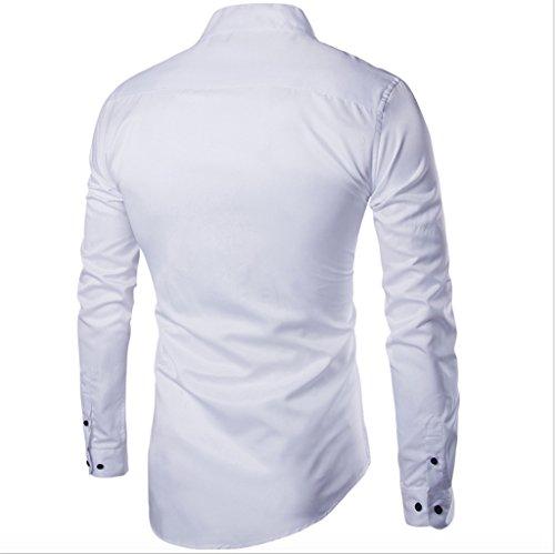 Elonglin Herren Stylisch Schlicht Langarmshirt Stehkragen Slim Fit Weiß