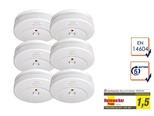 6er-SET Rauchmelder mit TÜV Zertifizierung & 5 Jahres Batterie - die günstige Alternative zum 10...