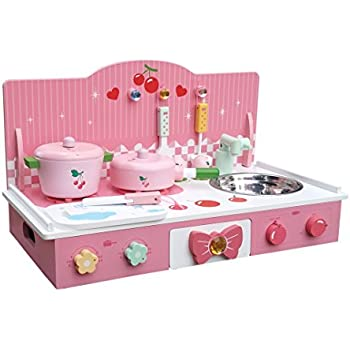 Classic Pink Wooden Kitchen Toy Pretend Cooking Kids children Girls role play set with 8pcs Accessories 55*28*32cm