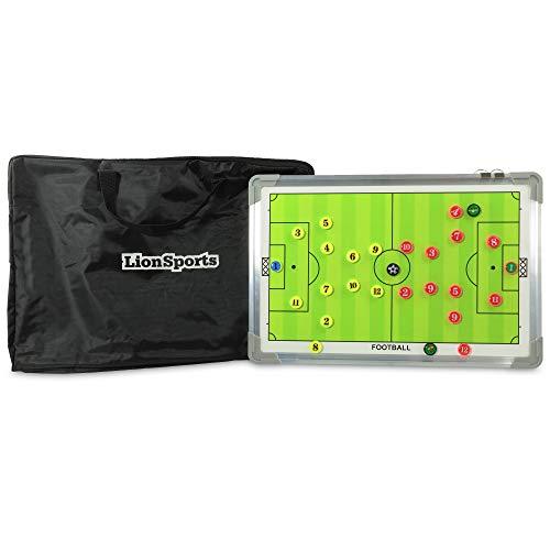 LionSports Profi Taktiktafel Fußball mit Tragetasche und Trillerpfeife - Verbessern Sie Ihre Spieler - Zusätzlich mit Zonenfeld für perfektes Stellungsspiel -