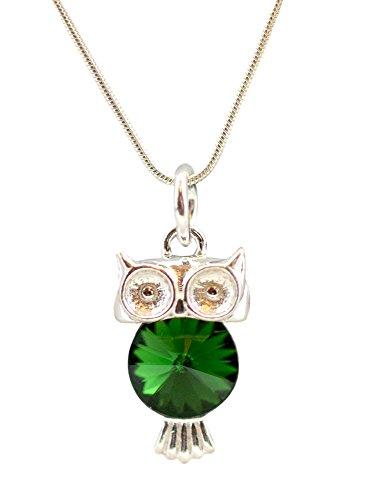 E* **Symbol der Weisheit** *VIELE FARBEN* Halskette aus 925 Silber mit original Swarovski® Elements Anhänger Halskette mit Schmuckbox (Dark Moss Green) ()