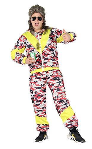 Foxxeo 80er Jahre Kostüm für Erwachsene Trainings-Anzug Assi Camouflage rot gelb S-XXXL, Größe:L