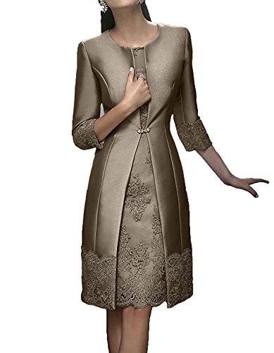 Charmant Damen Rosa Elegant Langarm knielang Abendkleider Brautmutterkleider ballkleider Kurz festlichkleider Braun