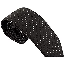 Corbata negra - Corbata negra con lunares - Corbata fina negra - Pietro Baldini