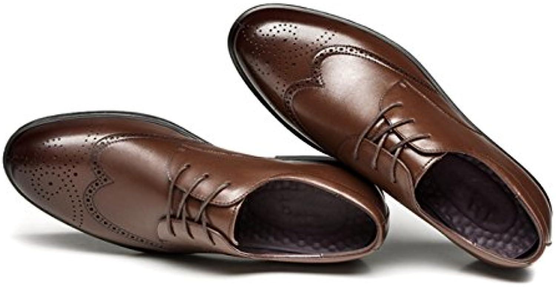 MSM4 Business Men Casual Bullock Zapatos De Cuero Tallados Lisos,Brown-44.5EUR -