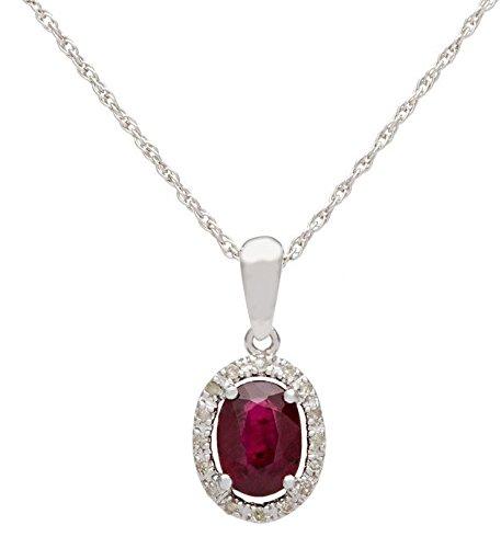 10 K oro blanco genuino 1.15ct Oval Ruby y collar de Halo de diamante