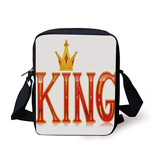King,Royal King Quote in Capital Lettering with Crown as Dot Vivid Slogan Like Art Print,Red and Gold Print Kids Crossbody Messenger Bag Purse -