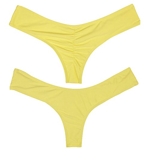 24d7533fb07 Women Sexy V Bikini Bottoms Cheeky Thong Booty T-Back Swimwear Yellow M - Buy  Online in Oman. | Misc. Products in Oman - See Prices, Reviews and Free ...