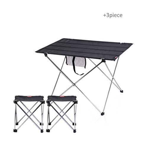 Liudan-Tische Tragbarer Klapptisch Camping Möbel im Freien Möbel Computertisch Picknick Aluminium Klapp Schreibtisch Ultra Light (Color : Black-B, Größe : L) - Teak-klapp-beistelltisch