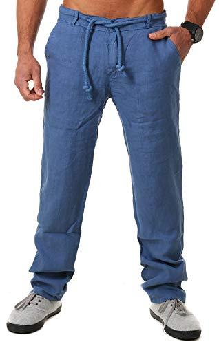 Young & Rich Herren Leinenhose Sommerhose 100% Leinen mit Kordelzug körperbetonte Passform Tapered Legs T4080, Grösse:XXL, Farbe:Blau -