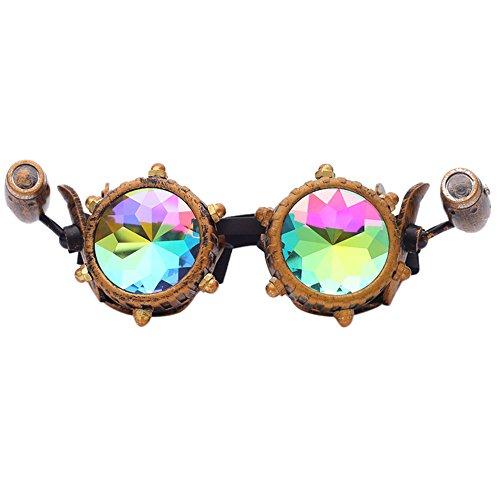 TW-Gläser TWISFER Steampunk Brille Cyber Brille Viktorianischen Punk Stil Schweißen Cosplay Gothic Goth Rustikale Rivet Vintage Runde Rave Neuheit(Mehrfarbig 4,One Size)