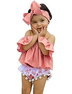 Baby sets Koly Neonata infantile fuori dalle parti superiori della maglietta della spalla Set di vestiti di pantaloni...