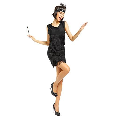 Imagen de maboobie  lady cosplay disfraz de charleston lujo chicago 1920s 1930s vestido con flecos color negro rojo para mujer l 36 38 , negro  alternativa