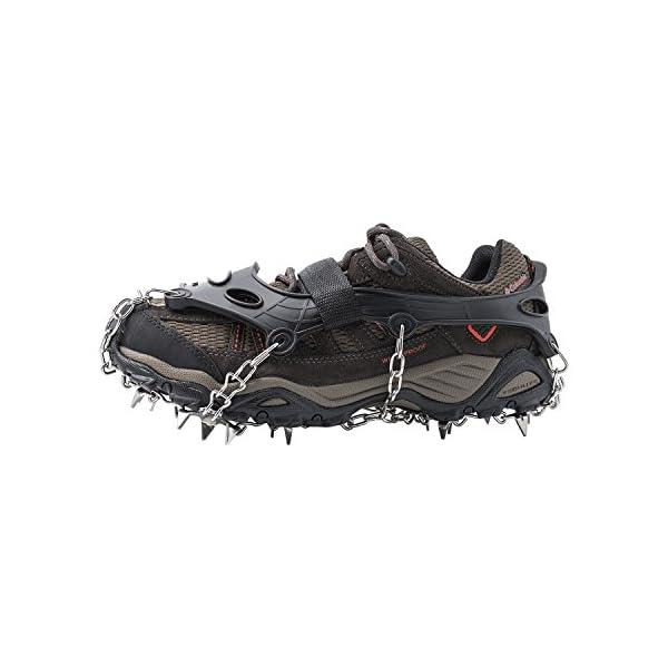AUHIKE Crampones 18 de Dientes y Garras l Cubierta Antideslizante de Zapatos para Nieve y Hielo, con Cadena de Acero Inoxidable 1